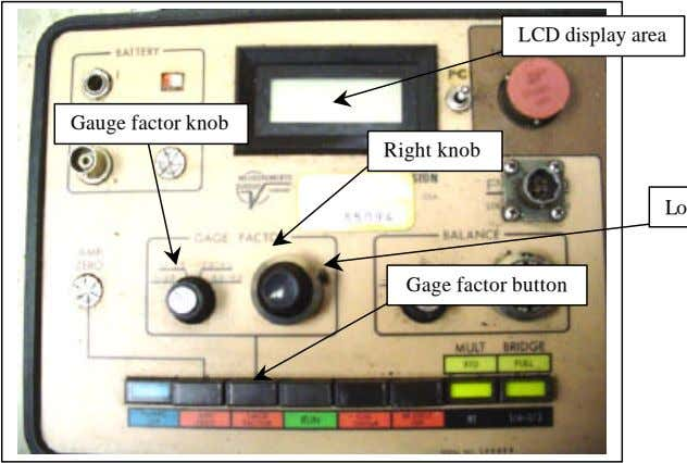 LCD display area Gauge factor knob Right knob Gage factor button