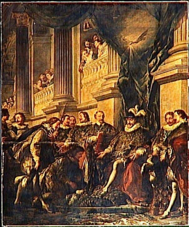 Henri IV holding the first chapter of the Order of the Saint-Esprit in the church