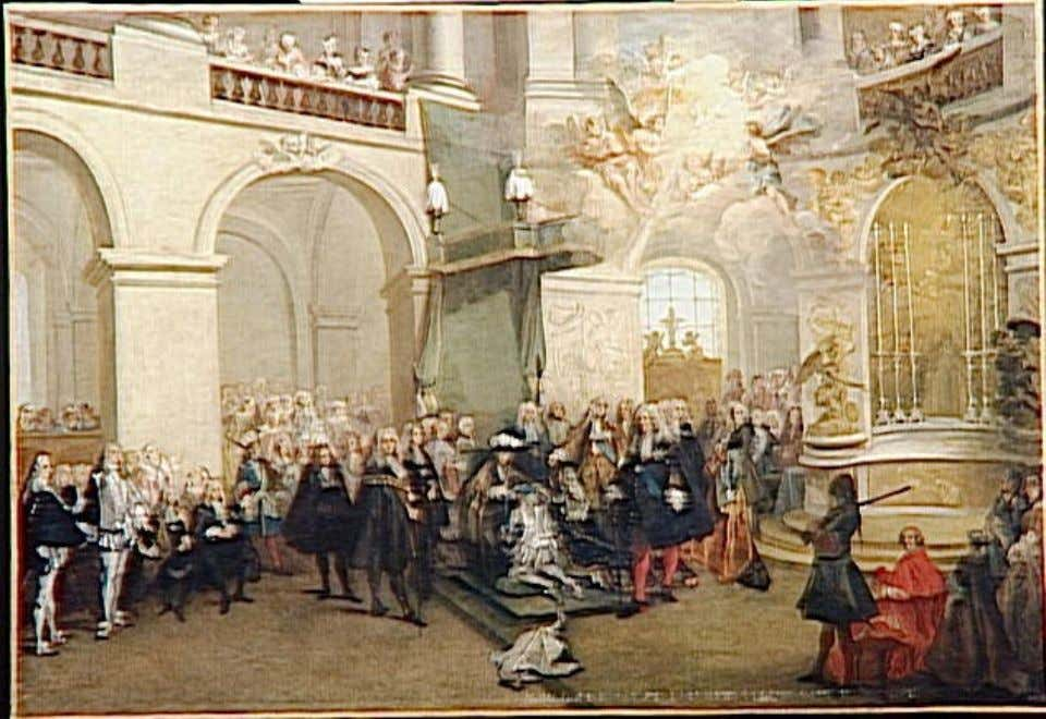 Conferral ceremony of the Saint-Esprit in 1724, in the royal chapel at Versailles (by Nicolas