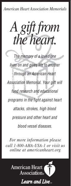 American Heart Association Memorials A gift from the heart. The memory of a loved one lives