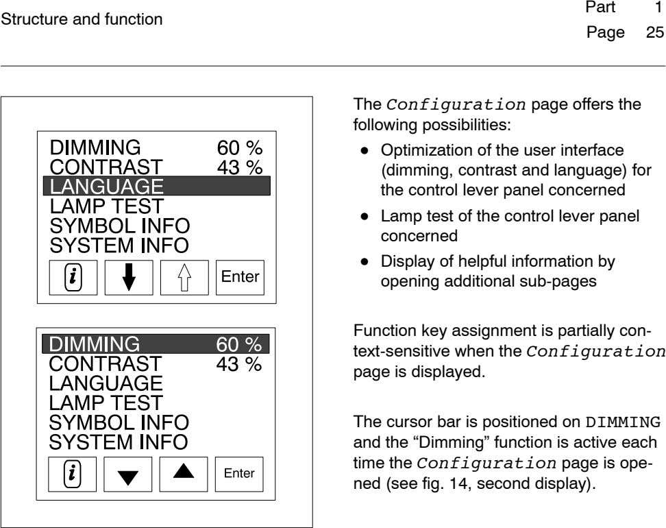 Part 1 Structure and function Page 25 The Configuration page offers the following possibilities: ¯
