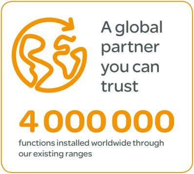 A global partner you can trust 4 000 000 functions installed worldwide through our existing