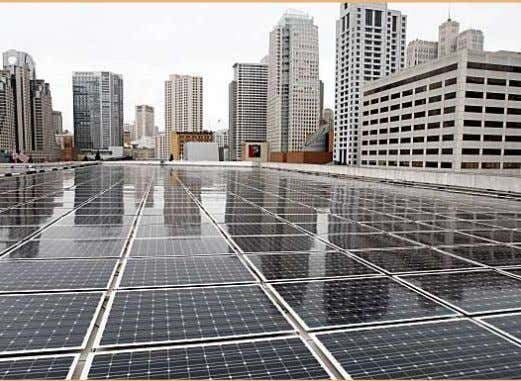 A 675-kilowatt flat roof solar PV system on the Moscone Convention Center in San Francisco,