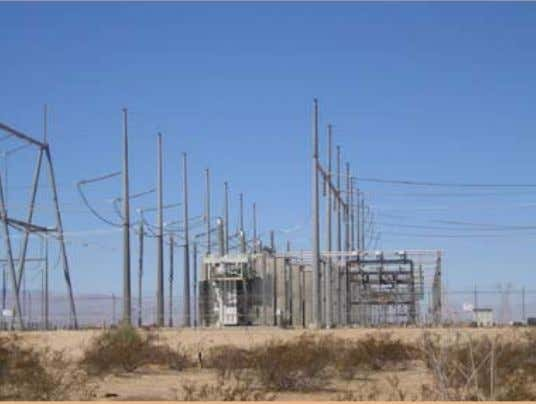 A transmission substation in the Imperial Valley, California. The transmission lines upon which new remote