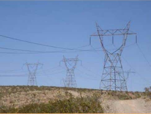 High voltage transmission lines south of Dagget, California in the Mojave Desert. These 500,000-volt lines
