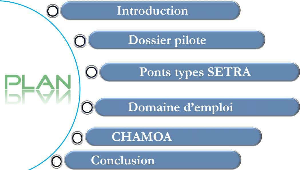 Introduction Dossier pilote Ponts types SETRA Domaine d'emploi CHAMOA Conclusion