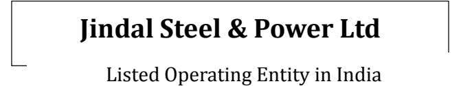 Jindal Steel & Power Ltd Listed Operating Entity in India