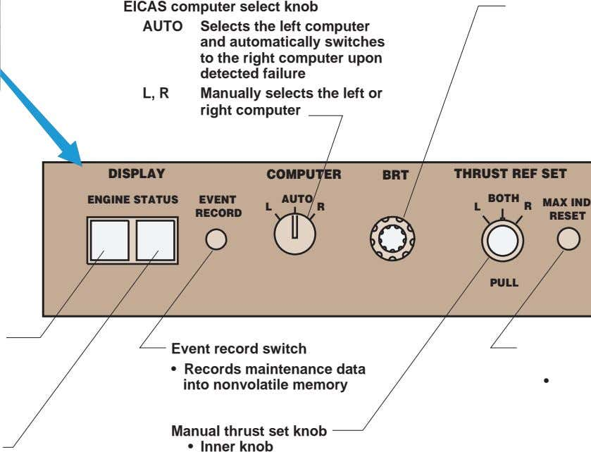 EICAS computer select knob AUTO Selects the left computer and automatically switches to the right