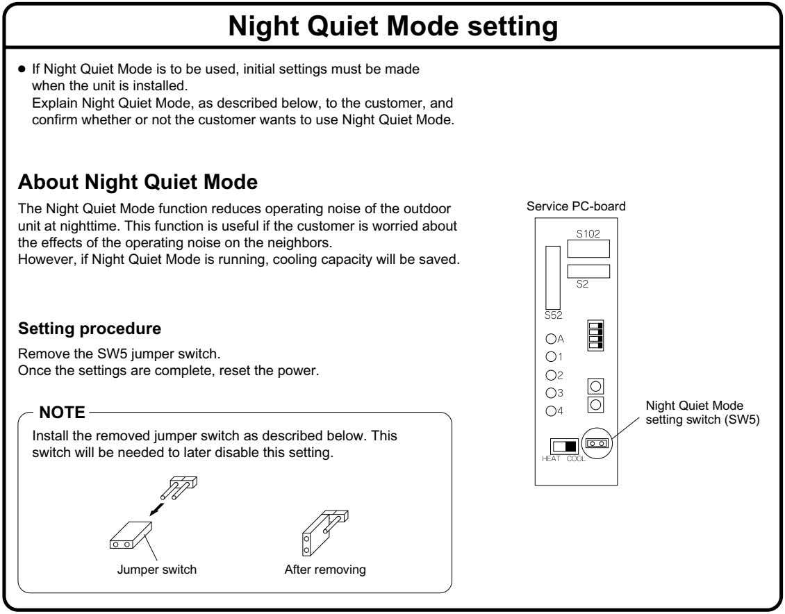 Night Quiet Mode setting ● If Night Quiet Mode is to be used, initial settings