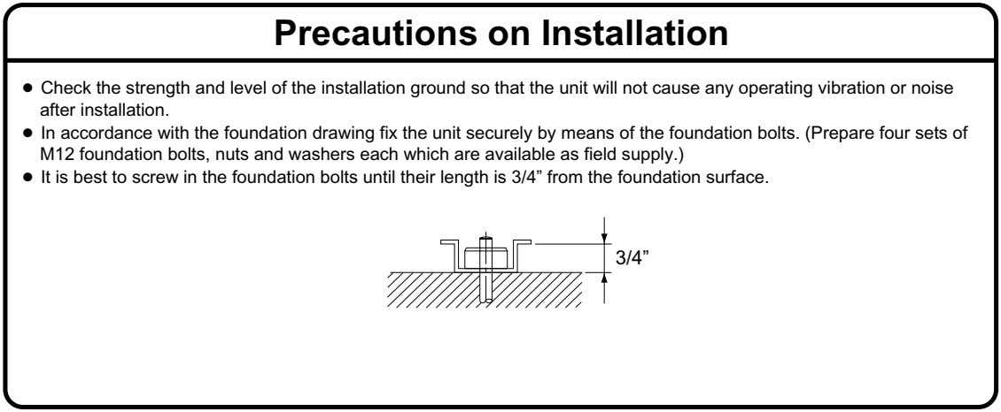 Precautions on Installation ● Check the strength and level of the installation ground so that