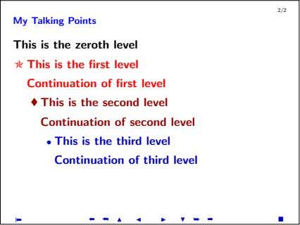 2/2 My Talking Points This is the zeroth level ✯ This is the first level