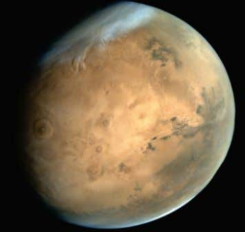 elevations on the planet. Mars has two small moons, Phobos and Deimos, which are thought to