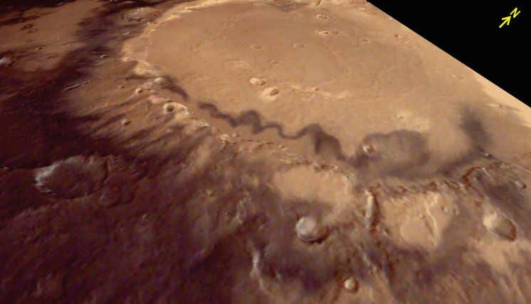 seen in image. This crater is situated near the Martian 26 Three dimensional perspective view of