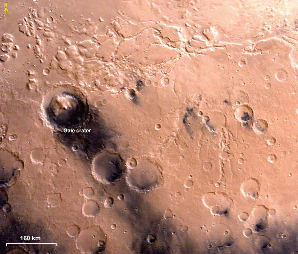 N Gale crater 160 km