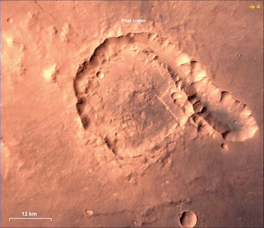 N Pital crater 12 km
