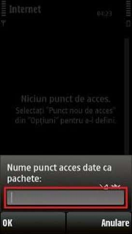 No 8. Date ca pachete / Packet data 9. Se introduce Nume punct acces date ca