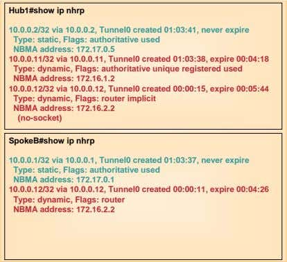 Hub1#show ip nhrp 10.0.0.2/32 via 10.0.0.2, Tunnel0 created 01:03:41, never expire Type: static, Flags: authoritative