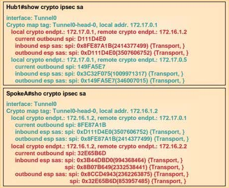 Hub1#show crypto ipsec sa interface: Tunnel0 Crypto map tag: Tunnel0-head-0, local addr. 172.17.0.1 local crypto