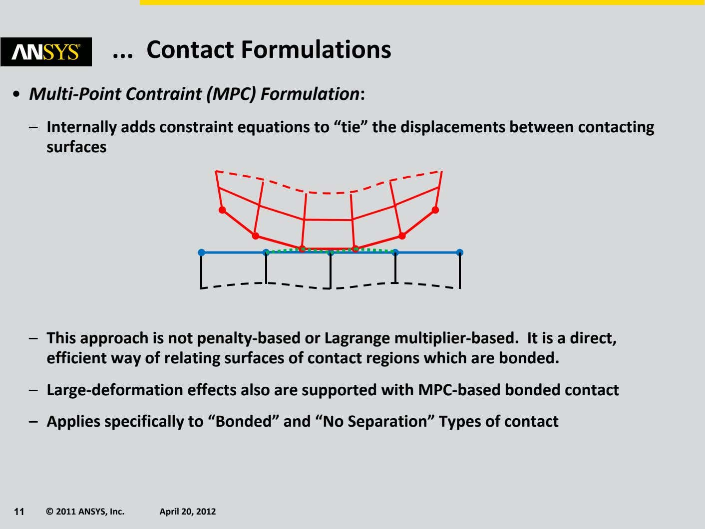 Contact Formulations • Multi‐ Point Contraint (MPC) Formulation: – Internally adds constraint equations to