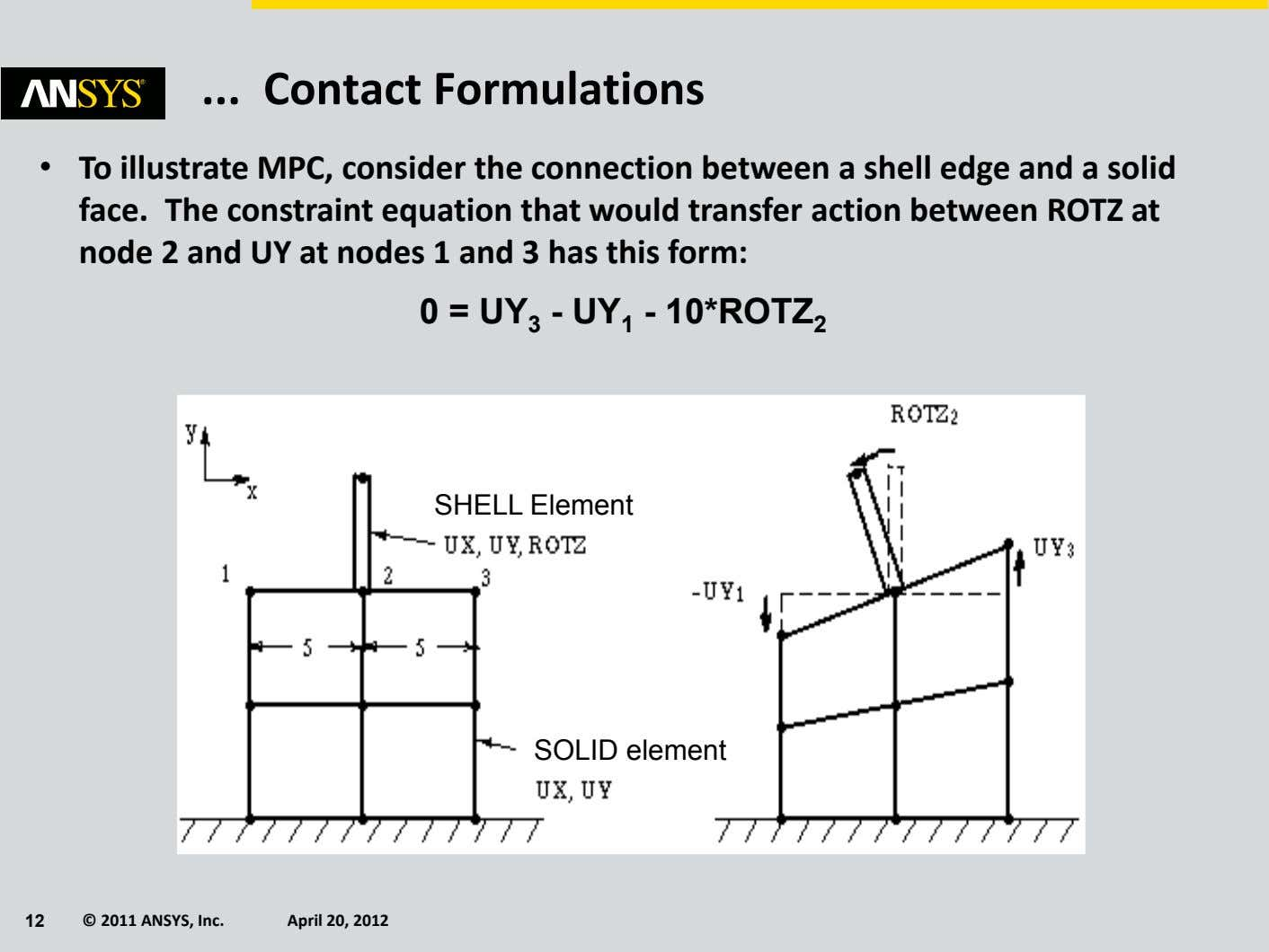 Contact Formulations • To illustrate MPC, consider the connection between a shell edge and a