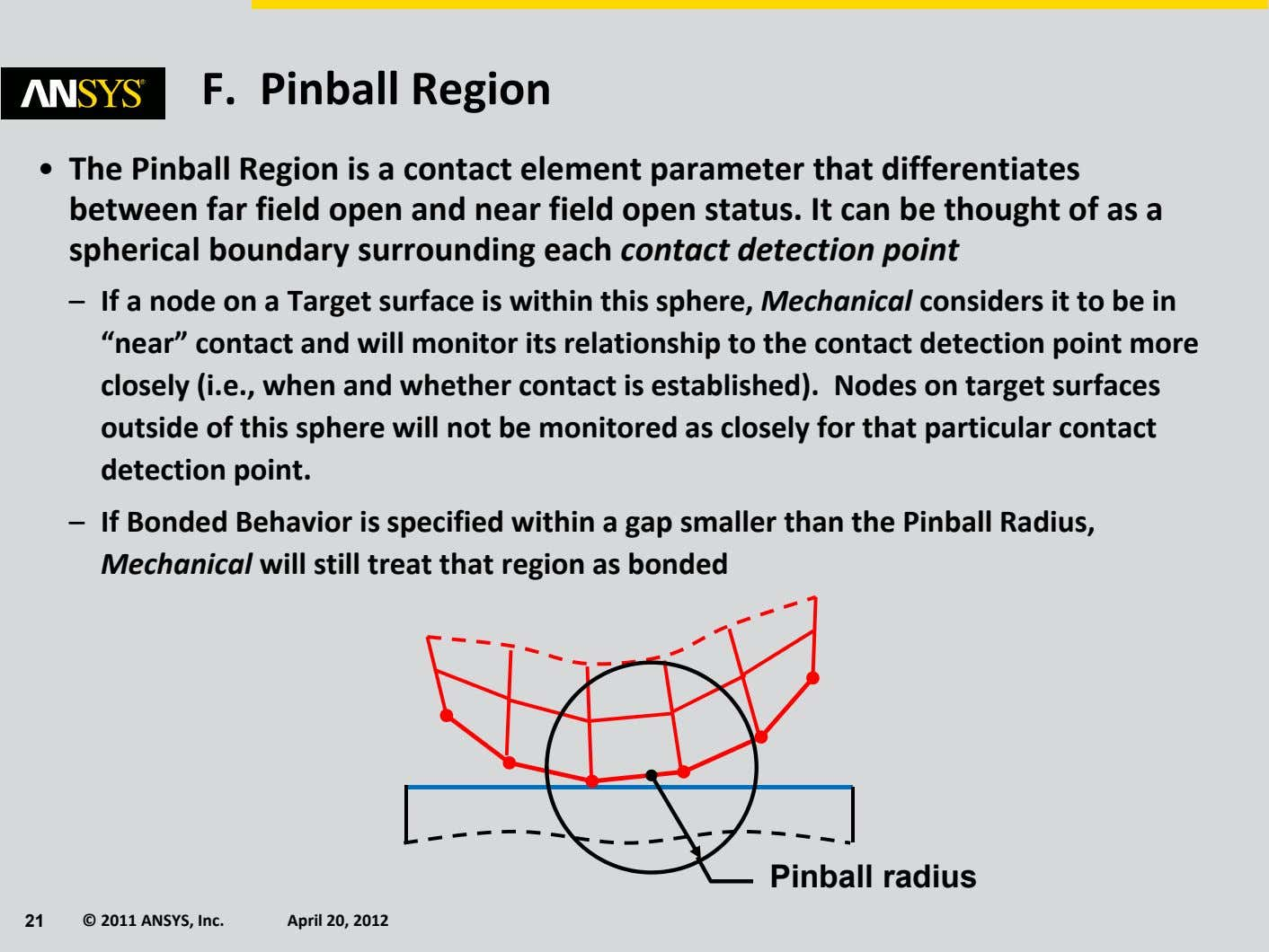 F. Pinball Region • The Pinball Region is a contact element parameter that differentiates between