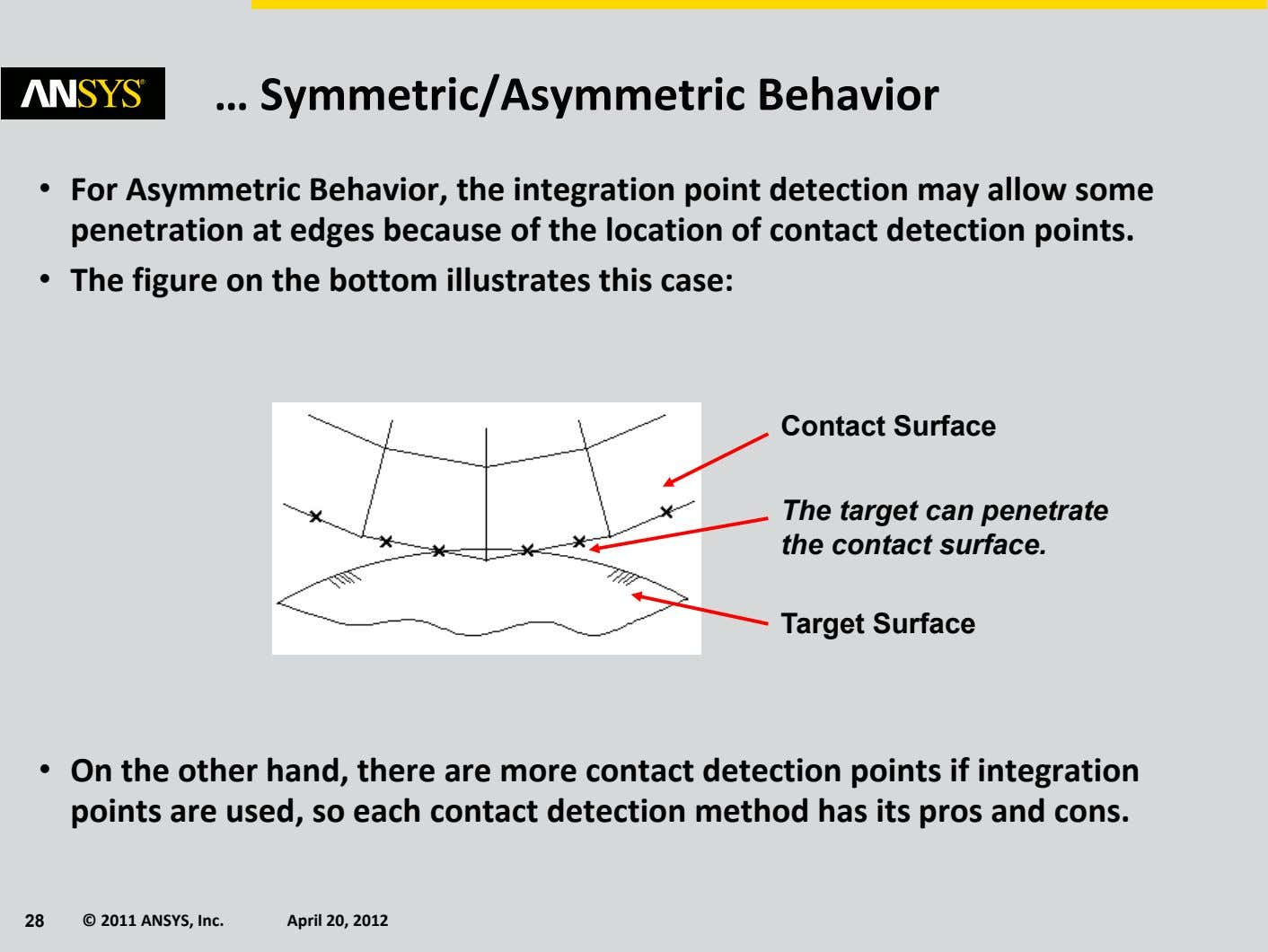 … Symmetric/Asymmetric Behavior • For Asymmetric Behavior, the integration point detection may allow some
