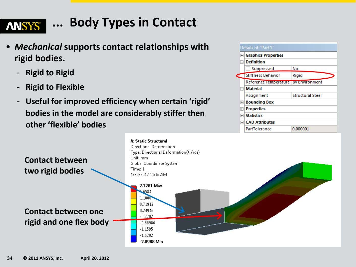 Body Types in Contact • Mechanical supports contact relationships with rigid bodies. - Rigid to