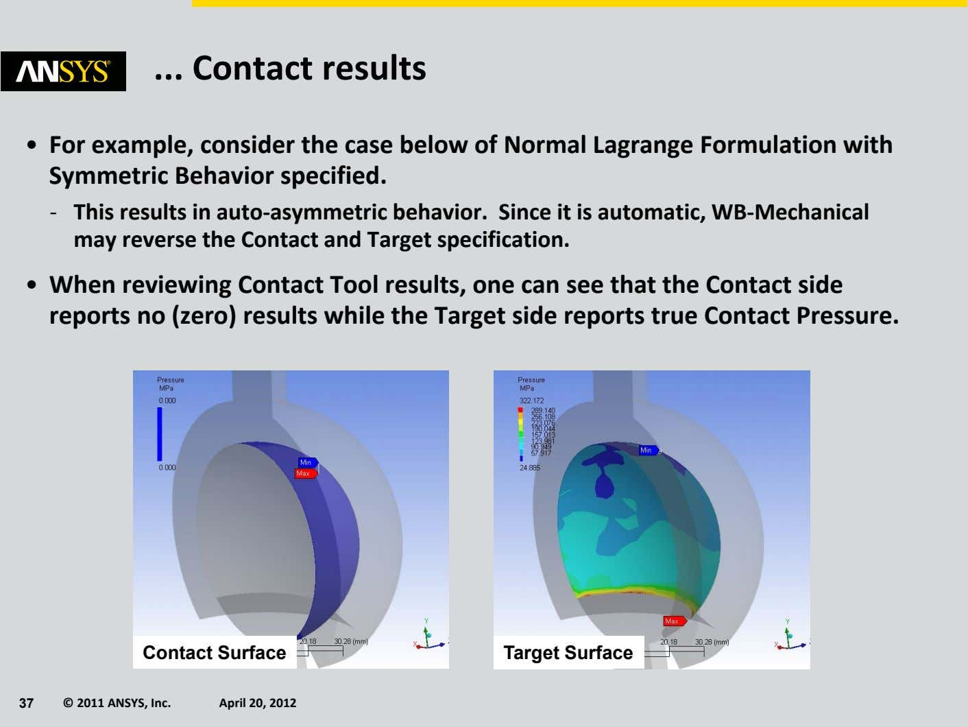 Contact results • For example, consider the case below of Normal Lagrange Formulation with Symmetric