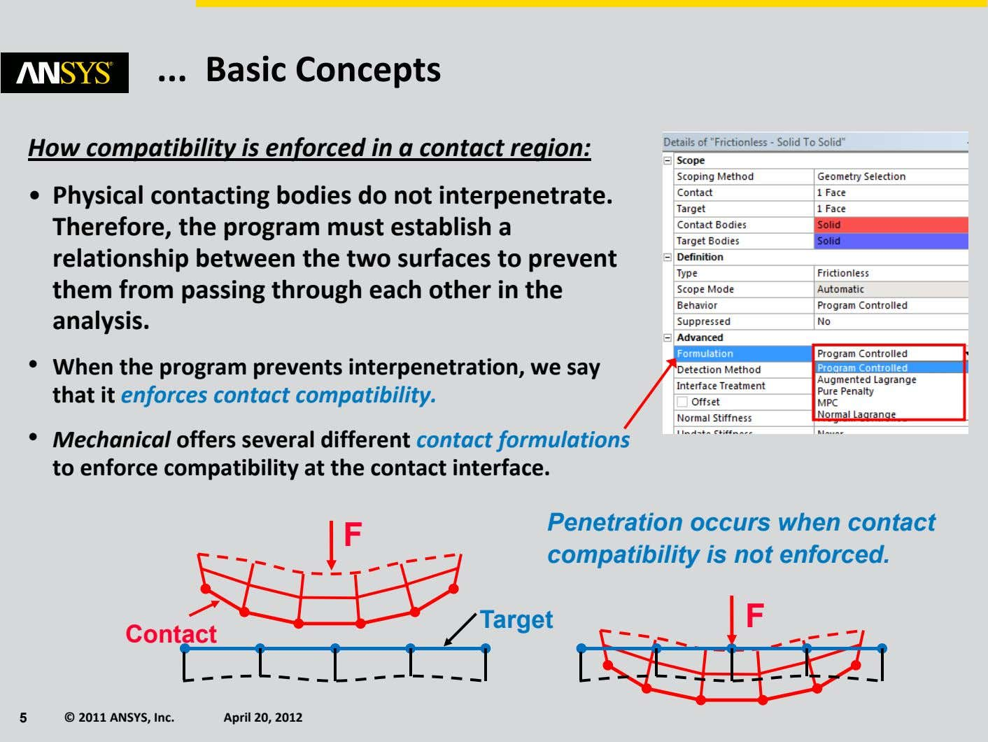 Basic Concepts How compatibility is enforced in a contact region: • Physical contacting bodies do