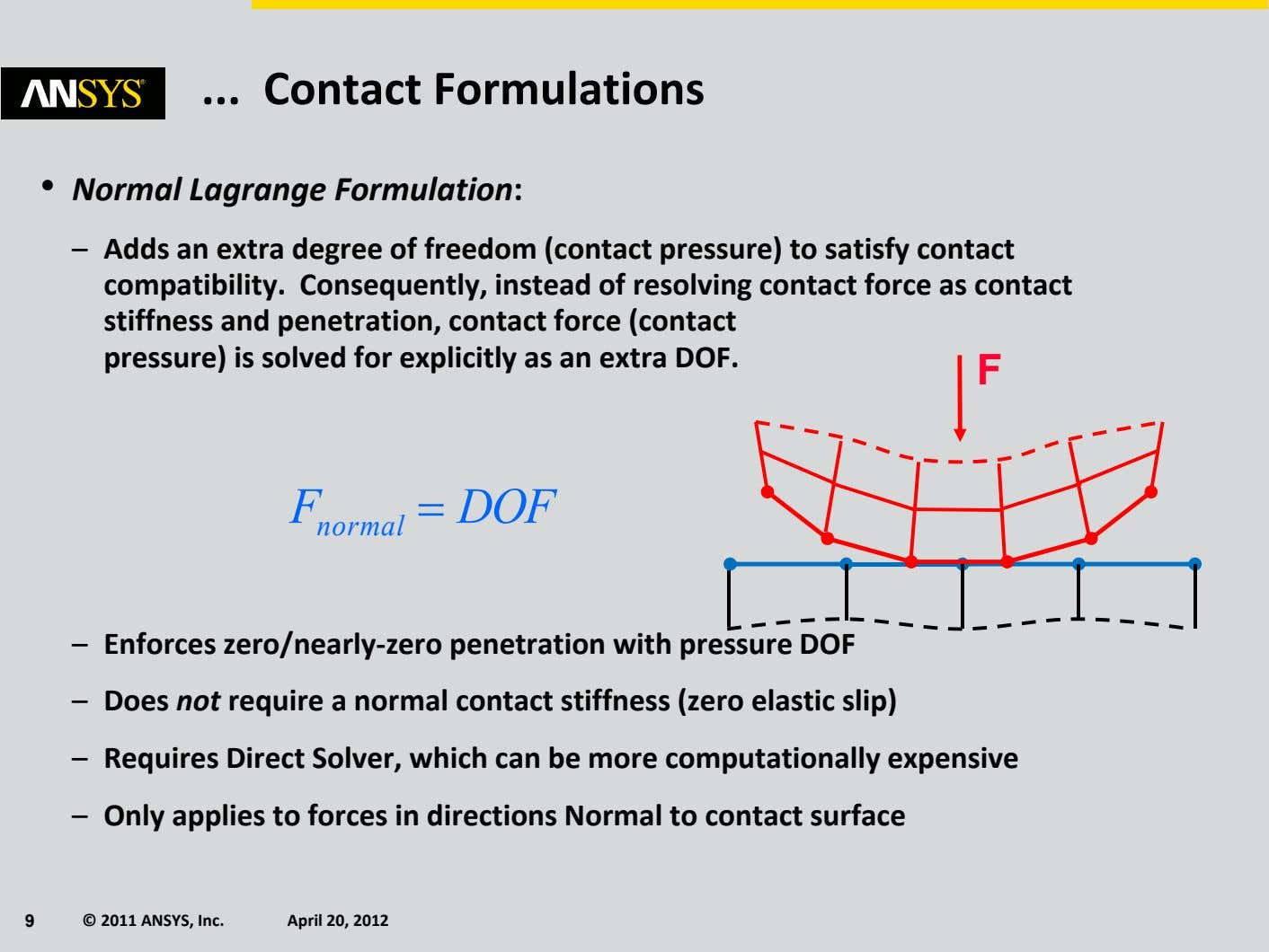 Contact Formulations • Normal Lagrange Formulation: – Adds an extra degree of freedom (contact pressure)