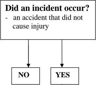 Did an incident occur? - an accident that did not cause injury NO YES