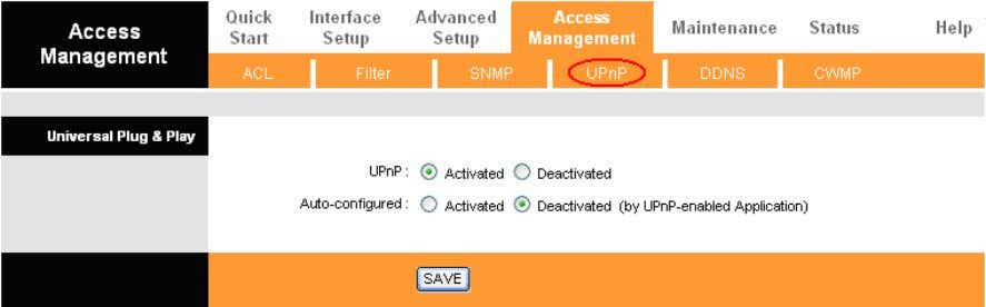 in use. UPnP broadcasts are only allowed on the LAN. Figure 4-33 UPnP: Activate or Deactivate