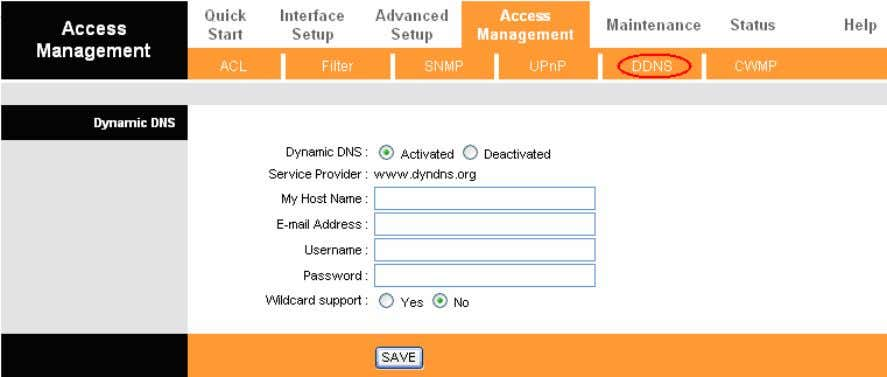 User also can decide to turn on DYNDNS Wildcard or not. Figure 4-34 Dynamic DNS: Activate