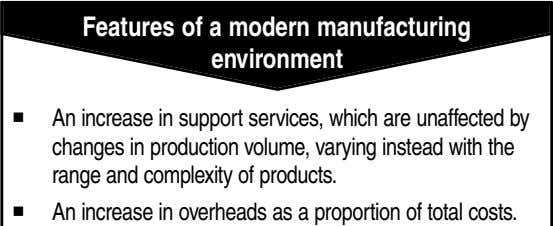 Features of a modern manufacturing environment An increase in support services, which are unaffected by