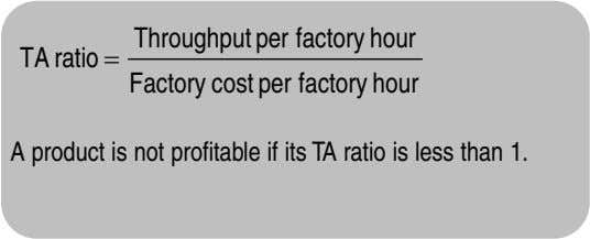 Throughput per factory hour TA ratio = Factory cost per factory hour A product is