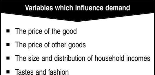 Variables which influence demand The price of the good The price of other goods The