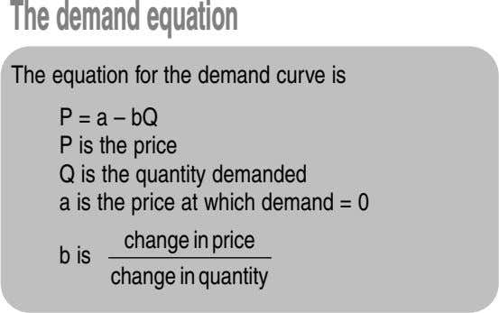 Thedemandequation The equation for the demand curve is P = a – bQ P is