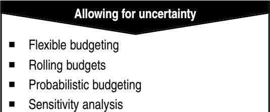 Allowing for uncertainty Flexible budgeting Rolling budgets Probabilistic budgeting Sensitivity analysis