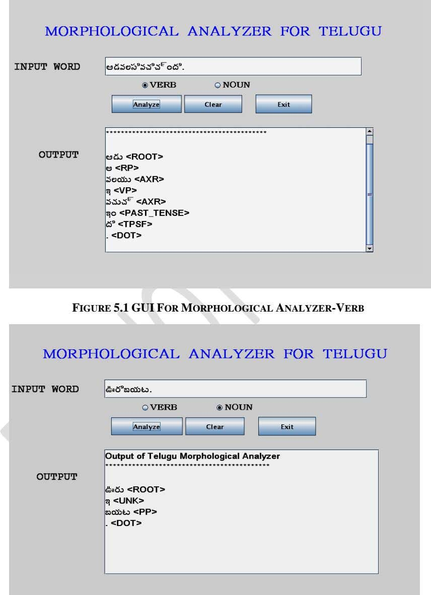 FIGURE 5.1 GUI FOR MORPHOLOGICAL ANALYZER-VERB