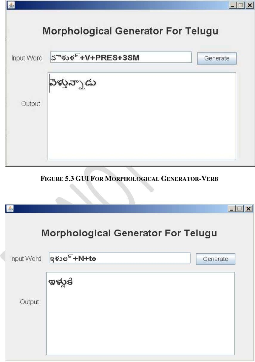 FIGURE 5.3 GUI FOR MORPHOLOGICAL GENERATOR-VERB