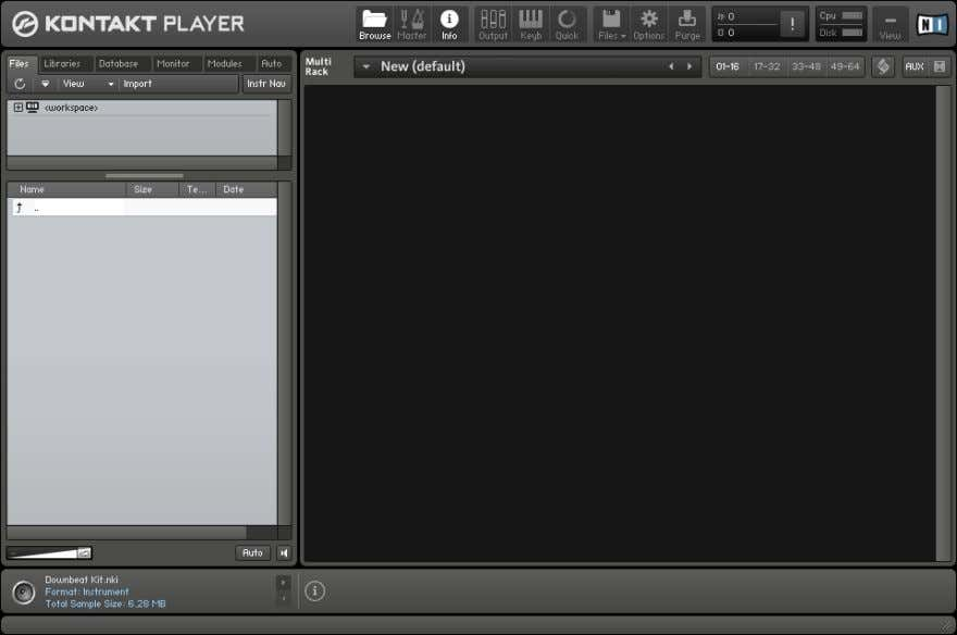 files, open Instruments, and combine them into Multi setups. The KONTAKT PLAYER main window, with no