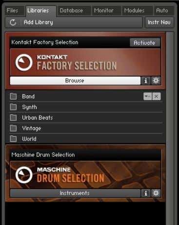 User Interface Browser Accessing the KONTAKT Factory Selection sound library via the Libraries tab of the