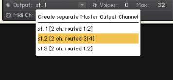 and select the desired channel from the drop-down menu. Assign an audio output to your Instrument