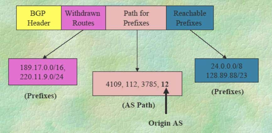 routes  An example: A simplified BGP UPDATE message: Wenliang Du Routing Protocols: Page 6 of