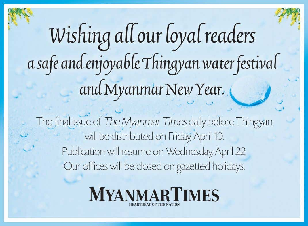 World THE MYANMAR TIMES April 9, 2015 WASHINGTON CIA chief defends Iran deal CIA director John