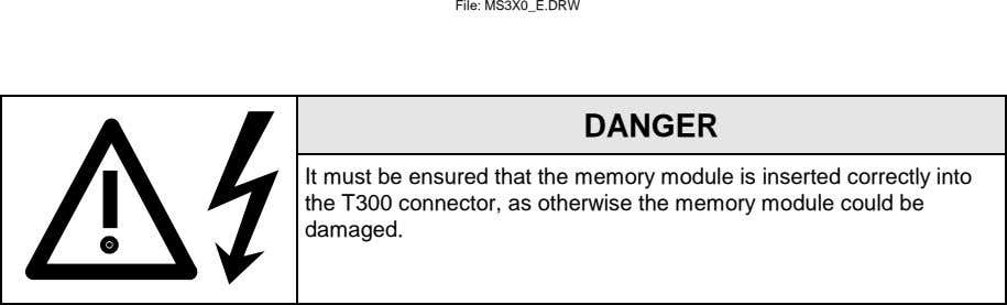 File: MS3X0_E.DRW DANGER It must be ensured that the memory module is inserted correctly into