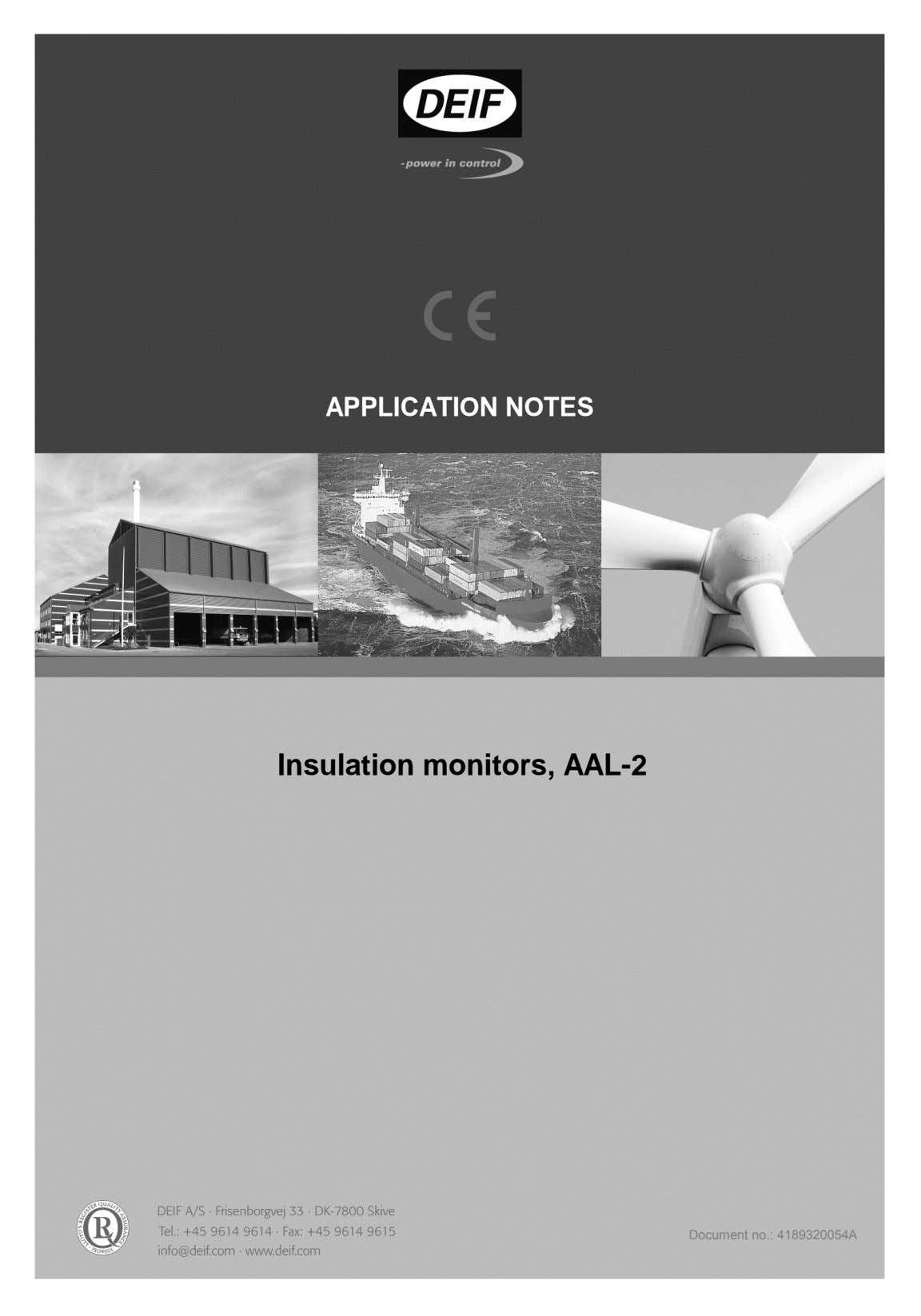 APPLICATION NOTES Insulation monitors, AAL-2 Document no.: 4189320054A