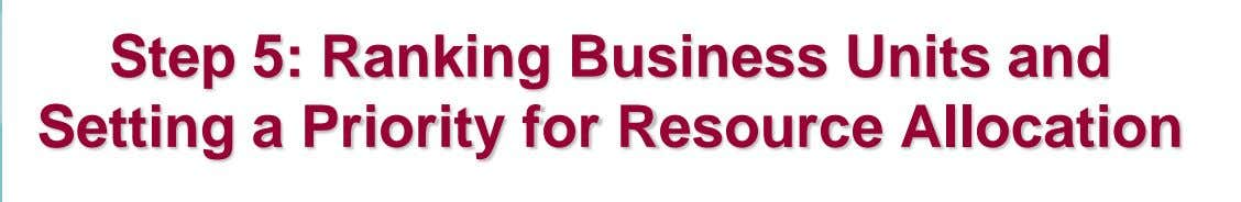 Step 5: Ranking Business Units and Setting a Priority for Resource Allocation