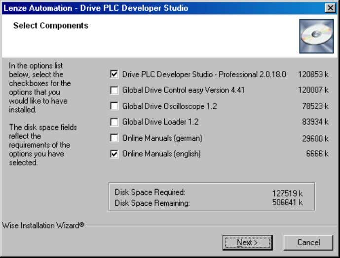 you to select the components you want to install on your PC. Components Info Drive PLC