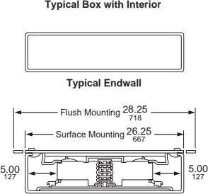Typical Box with Interior Typical Endwall Flush Mounting 28.25 718 Surface Mounting 26.25 667 5.00